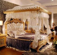 Luxury French Rococo Style Wood Carved Marquetry Canopy Bed/ Royal Four Poster King Size Bed/ Fancy European Bedroom Furniture Baroque Bedroom, European Bedroom, Royal Bedroom, Bedroom Sets, Italian Bedroom Furniture, Wood Bedroom Furniture, Furniture Sets, Empire Furniture, Royal Furniture