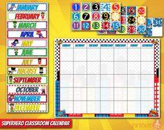 Superhero Classroom Calendar | Pre-school Classroom | Classroom Decorations | Days of the week | Calendar Set