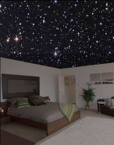 Bedroom with star lights lighting up the inside...