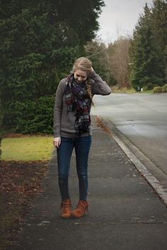 Seattle Style thought #1--Wear a bright, or in some way striking, scarf when wearing a gray or neutral top