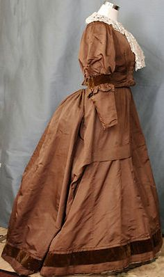 Cocoa brown silk taf. with velvet trim late 1860 to early 1870.
