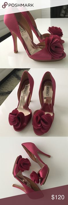 Authentic Badgley Mischka Thora Rosette Heels Brand new, never worn. Size 7M. Beautiful satin raspberry color! Perfect for a formal night out, or even as a statement wedding shoe! ❤️ don't low ball on this. Unreasonable offers will be declined. Badgley Mischka Shoes Heels