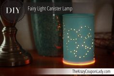 Make This Cute Lamp with an Empty Canister and Fairy Lights!