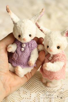 Купить Мини зайки: Ми, Ли и Ди (12 см) - белый, зайка, зайчик, зайцы