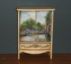 Monet Inspired Cabinet  - hand-painted miniature furniture