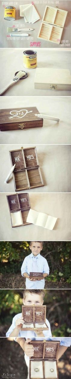 DIY ~ Ring bearer's box instead of a pillow.