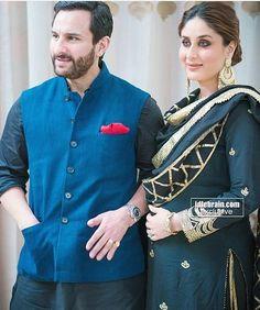 Bollywood royal couple: Saif Ali Khan and Kareena Kapoor Khan Indian Suits, Indian Attire, Indian Ethnic Wear, Indian Wear For Men, Bollywood Stars, Bollywood Fashion, Indian Bollywood, Kurta Designs, Pakistani Dresses