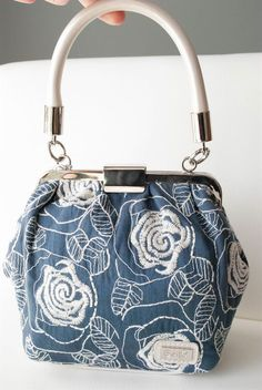 NWT Beijo Blue Pearl Forget Me Not Embroidered Handbag Purse #Beijo #TotesShoppers