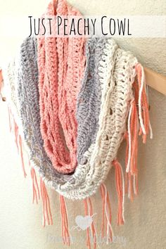 And I have yet another Caron Cake pattern. I can't help myself! I'm obsessed, I tell ya! I made this cowl using Strawberry Trifle. I loved the peachy pink with the creams and grays. I w…