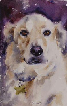 Daily Paintworks - - Original Fine Art for Sale - © Katya Minkina Watercolor Animals, Watercolor Paintings, Illustrations, Illustration Art, Golden Retriever Art, Black Cat Art, Dog Artwork, Dog Portraits, Animal Paintings
