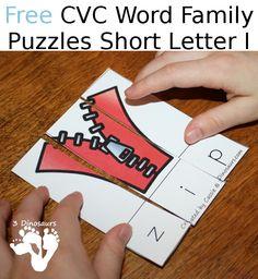 Free CVC Word Family Puzzles Short I | 3 Dinosaurs