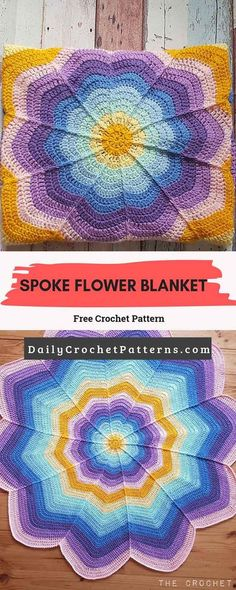 Crochet blanket patterns free 494551602832310070 - Spoke Flower Blanket Free Crochet Pattern Source by crochetmelovely Crochet Afghans, Quick Crochet Blanket, Crochet Stars, Crochet Motifs, Crochet Round, Afghan Crochet Patterns, Crochet Blanket Flower, Crochet Baby Blanket Free Pattern, Crochet Blankets