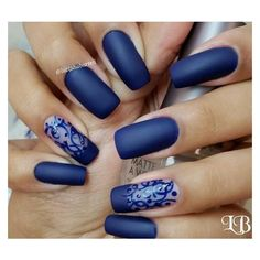 Amazing blue nails About ❤ liked on Polyvore featuring nails