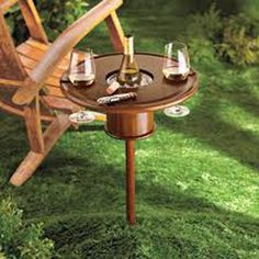 Staked Mahogany Picnic Table with Bottle Cooler:Amazon:Kitchen & Dining