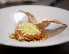"""La ricetta """"Battuto di lardo e trota"""" dello 'Chef Vallée' Piergiorgio Pellerei - foto M.Paladini"""