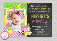Farm Invitations Farm Party Invitation  by TheTrendyButterfly #farm #birthday #farminvitation #oldMcdonald
