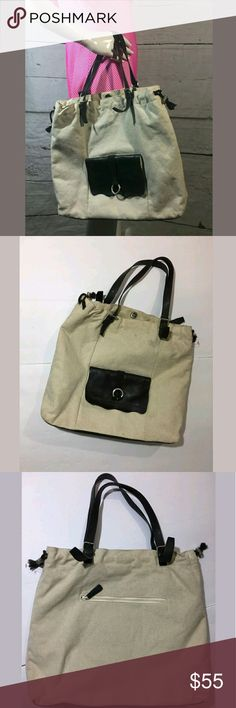 J.Jill Cream Brown Canvas Leather Tote Bag Purse J.Jill Cream Brown Canvas Leather Tote Bag Purse   Very good used condition.   17 x 14 x 4 inches.   AB J. Jill Bags Totes