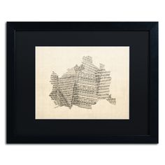 Old Sheet Music Map of Vienna by Michael Tompsett Framed Graphic Art in Black