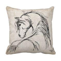 CUTE artsy equestrian themed horse lover throw pillow for the living room couch or bedroom. This stylish and classy pillow features neutral colors that goes great for any room in the house. Perfect for any horse lover's home decor or for the tack room or home office. Features a black and ivory colored sketched horse head with a long mane.