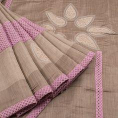 Ambi Handwoven Linen Shaded Concept Saree  with Embroidered  Border & Kantha Blouse 10005538 - AVISHYA.COM