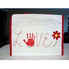 Handprint LOVE tote bag