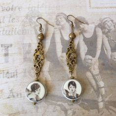 Vintage Earrings, Art Deco Earrings, Retro Jewelry, China Beads, Dangle Earrings, Handmade Jewelry, Womens Gift, Teen Girls Gift by bleuluciole on Etsy