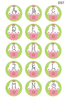 cupcake alphabet a-o Stall Decorations, Bottle Cap Crafts, Bottle Caps, Bottle Cap Images, Lalaloopsy, Alphabet And Numbers, Cupcake Party, Party Printables, Cupcake Toppers
