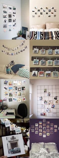 Photos in bedroom, diy bedroom, dream bedroom, bedroom furniture, bedroom s Polaroid Display, Polaroid Ideas, Hanging Polaroids, Polaroid Crafts, Polaroid Cube, Diy Polaroid, Polaroid Photos, Polaroid Collage, Ways To Hang Polaroids
