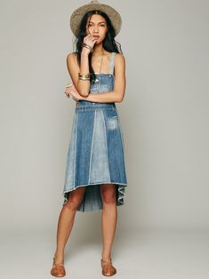 Womens Retro Washed Casual Blue Denim Overall Jumper Dress Skater ...