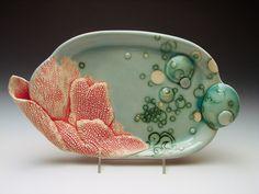 Handmade ceramic platter and trays | Coral Platter, Handmade Pottery. $250.00, via Etsy.