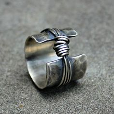 Sterling Silver Ring - Sterling Band Ring - Textured Silver Ring - Sterling Knot Ring - Organic Sterling Band - Rustic Silver Ring - Chunky Sterling Silver Ring Sterling Band Ring Textured by lsueszabo Metal Jewelry, Jewelry Art, Sterling Silver Jewelry, Jewelry Rings, Jewelery, Jewelry Design, Silver Earrings, Hammered Silver, Silver Jewellery