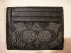 NWT COACH MEN'S SIGNATURE PVC & LEATHER ID CARD CASE WALLET F75027