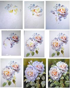 How to paint a white rose - white on white in watercolor - free step-by-step-photos