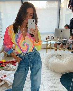 ShopStyle Look by somethingnavy featuring Polo Ralph Lauren Polo Ralph Lauren Women's Tie-Dye Long-Sleeve Shirt and Ralph Lauren The Paperbag Jean Quirky Fashion, Colorful Fashion, Tie Dye Outfits, Cute Outfits, Camisa Tie Dye, Tie Dye Crafts, Tie Dye Fashion, How To Tie Dye, Tie Dye Shirts