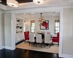Grey, Black And Red Dining Room Design, Pictures, Remodel, Decor and Ideas