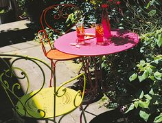 Fermob: the most lovely French bistro outdoor furniture. I can't wait to buy mine in Verbena - the bright, yellow/green color!