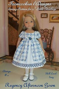 """SEWING PATTERN for Dianna Effner's 13"""" Little Darlings - Regency Afternoon Gown"""