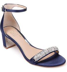 navy blue wedding shoes block heel sandals with rhinestone strap