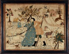This incredible needlework picture worked by an unknown young lady portrays the love story of Rachel and Jacob. 1772
