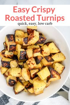 These delicious Roasted Turnips are an easy and healthy side dish that taste amazing. They come out browned and caramelized every time. Low carb and delicious. This healthy recipe from Slender Kitchen is also gluten free vegan vegetarian and Low Carb Side Dishes, Healthy Side Dishes, Side Dish Recipes, Low Carb Recipes, Cooking Recipes, Healthy Recipes, Cleaning Recipes, Healthy Meals, Bread Recipes