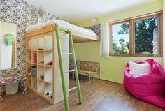 Eclectic Kids Bedroom with Hardwood floors, DIY Bunk bed using 4?4 IKEA Kallax, interior wallpaper, Bunk beds