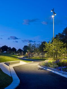 A map of the best contemporary landscape architecture projects from around the world. Park Lighting, Outdoor Lighting, Park Landscape, Urban Landscape, Traditional Landscape, Contemporary Landscape, Lanscape Design, Landscape Architecture Design, Landscape Elements