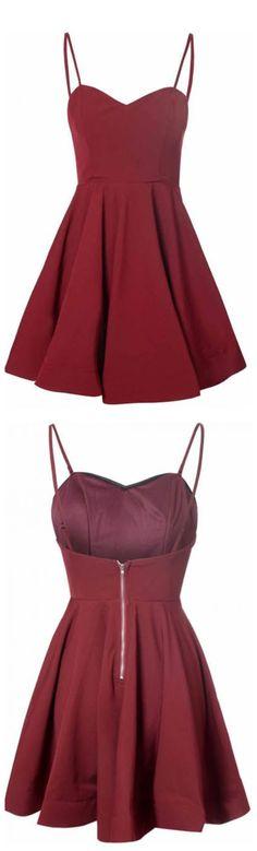 Spaghetti Straps homecoming dress,homecoming dresses,short homecoming dress,burgundy homecoming dress