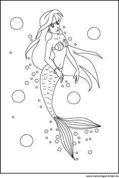 ausmalbild märchen: kostenlose malvorlage: meerjungfrau