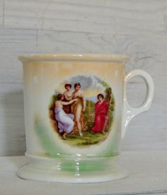 Antique German Shaving Mug Antique China Mug Greek by nonniesporch