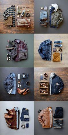 Combos masculinos para inspiração Mens Fall Outfits, Mens Casual Dress Outfits, Stylish Mens Outfits, Casual Shirts For Men, Minimalist Wardrobe Men, Modern Mens Fashion, Rugged Men's Fashion, Style Masculin, Look Man