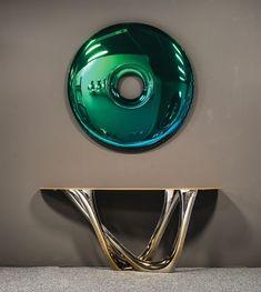 Blue/Green Gradient Blue/Green Gradient Mirrors Made From Inflated Metal by Oskar Zieta - Design Milk Fine Furniture, Rustic Furniture, Luxury Furniture, Furniture Design, Antique Furniture, Deco Furniture, Outdoor Furniture, Entry Furniture, Furniture Buyers