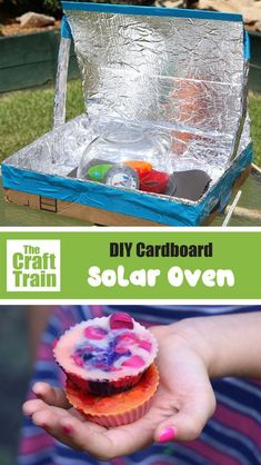 Learn about sustainable energy with this fun and easy DIY solar oven experiment for kids. Create your own melted wax crayon and Rocky road chocolate bites in your oven! A perfect summer science activity for all ages #science #energy #creativefun #kidsscience #diysolarpower 3diy solaroven #kidscrafts #kidsactivities #STEMcrafts Preschool Science Activities, Creative Activities For Kids, Diy For Kids, Creative Kids, Learning Activities, Teaching Ideas, Solar Oven Diy, Diy Solar, Summer Science