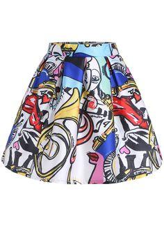 White Graffiti Print Flare Skirt
