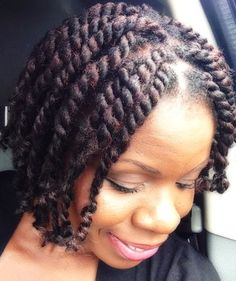 Marley Twists Natural Hairstyle: Short Chunky Twists With Marley Hair Marley Twists Updo, Short Marley Twists, Short Hair Twist Styles, Marley Twist Hairstyles, Twist Braids, Braid Styles, Braided Hairstyles, Havana Twists, Afro